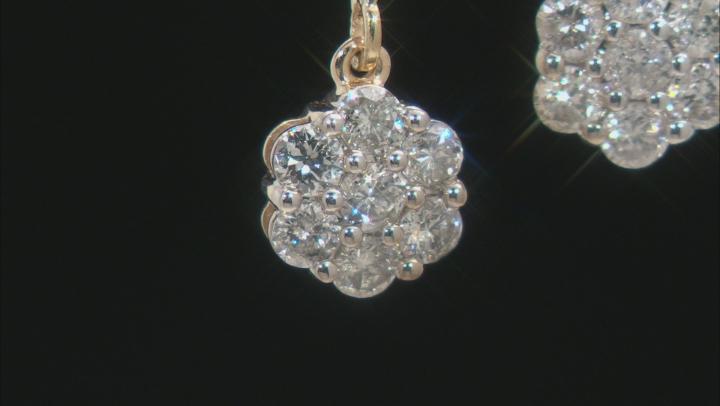 White Diamond 10k Yellow Gold Dangle Cluster Earrings 1.00ctw