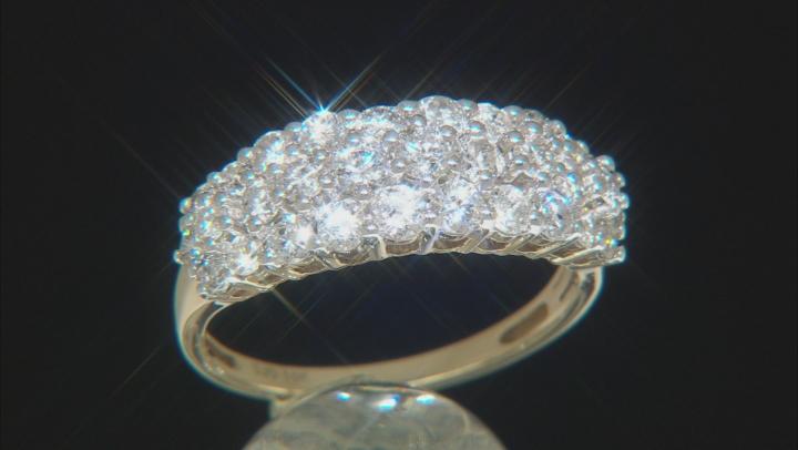 White Diamond 10k Yellow Gold Cluster Band Ring 1.50ctw