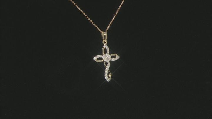 "White Diamond 10k Yellow Gold Cross Pendant With 18"" Rope Chain 0.25ctw"