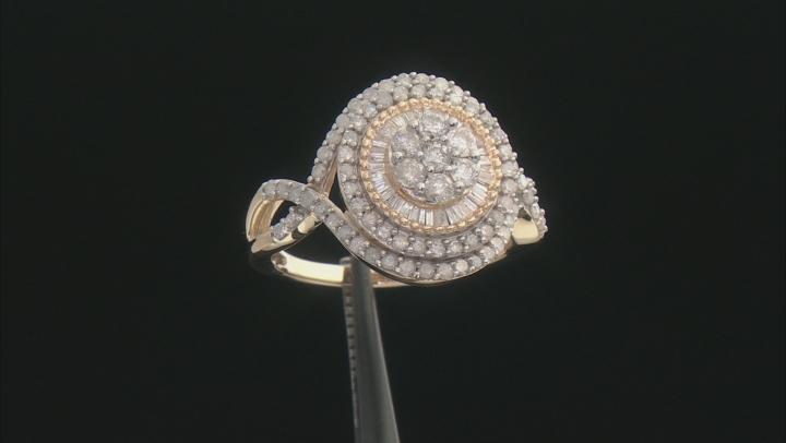 White Diamond 10k Yellow Gold Cluster Ring 1.30ctw