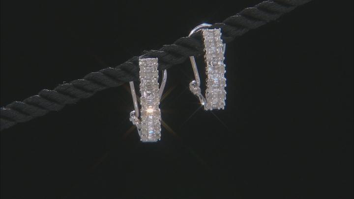 White Diamond Rhodium Over Sterling Silver J-Hoop Earrings 0.60ctw