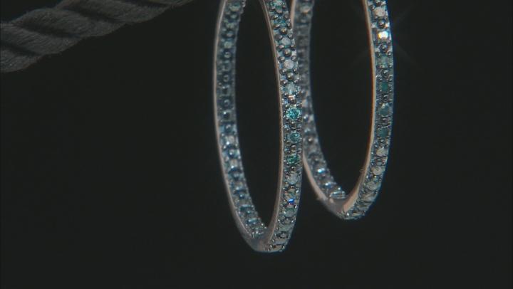 Blue Diamond Rhodium Over Sterling Silver Inside-Outside Hoop Earrings 0.25ctw