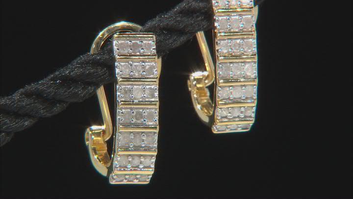 White Diamond 14K Yellow Gold Over Sterling Silver J-Hoop Earrings 0.50ctw