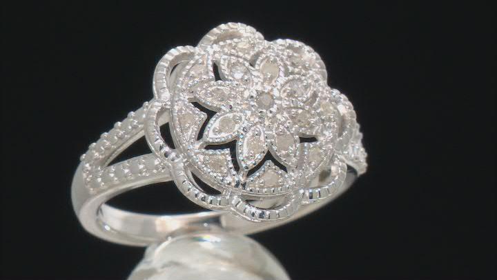 White Diamond Rhodium Over Sterling Silver Flower Cluster Ring 0.20ctw