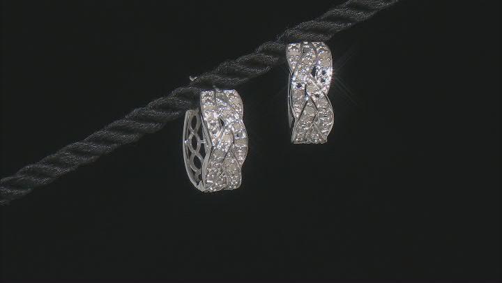 White Diamond Rhodium Over Sterling Silver Hoop Earrings 0.25ctw