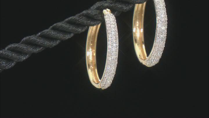 Engild™ White Diamond 14k Yellow Gold Over Sterling Silver Hoop Earrings 0.40ctw