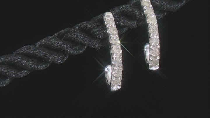 White Diamond Rhodium Over Sterling Silver J-Hoop Earrings 0.25ctw