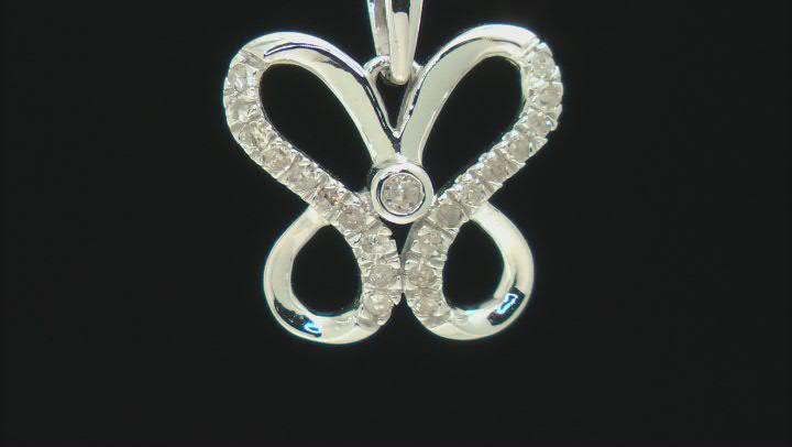 "White Diamond Rhodium Over Sterling Silver Pendant W/ 18"" Rope Chain 0.15ctw"