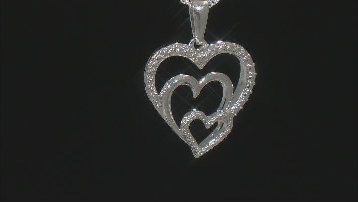 White Diamond Accent Rhodium Over Sterling Silver Heart Pendant