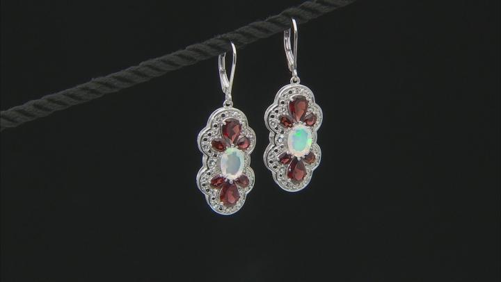 Red Garnet Rhodium Over Sterling Silver Earrings 5.76ctw