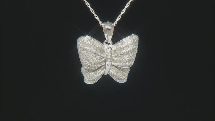 White Diamond Rhodium Over Sterling Silver Pendant 0.75ctw