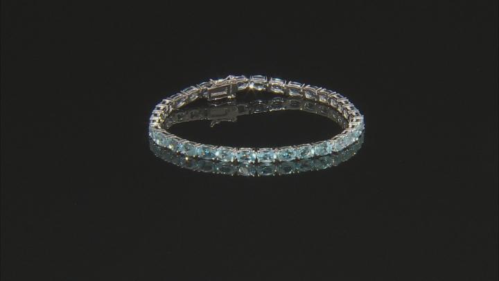 Sky Blue Topaz Rhodium Over Sterling Silver Tennis Bracelet 13.30ctw