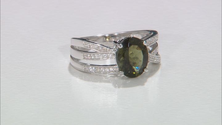 Green Moldavite Sterling Silver Ring 1.69ctw