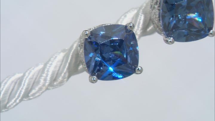 Blue & White Cubic Zirconia Platineve Earrings 5.21ctw