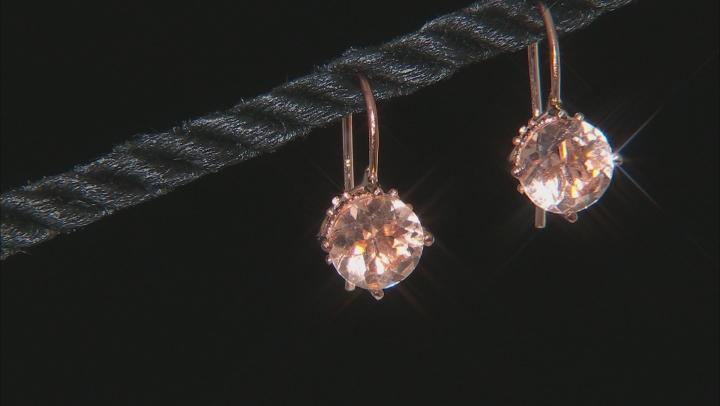 Morganite Simulant & White Cubic Zirconia 18k Rose Gold Over Sterling Earrings 2.06ctw