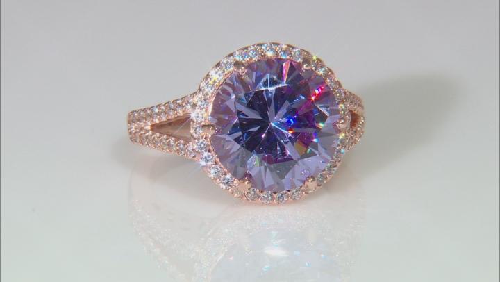 Lavender & White Cubic Zirconia 18K Rose Gold Over Silver Center Design Ring 10.11ctw