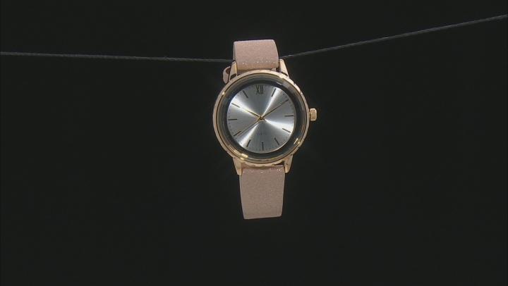 Ladies 37mm Rose Tone, Gold Tone, & Gun Metal With White, Black, & Beige Band Watch Set of 3