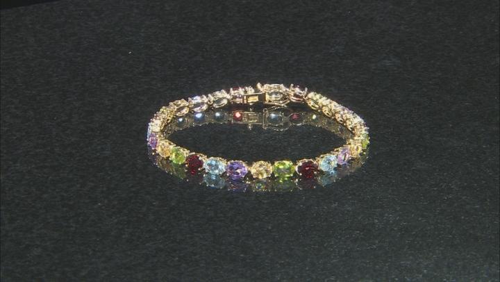 Multi-gemstones 18k yellow gold over sterling silver bracelet 17.86ctw