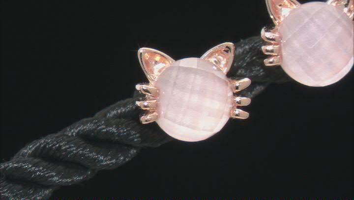 Pink Rose Quartz 18k Rose Gold Over Silver Cat Earrings