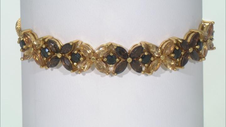 Black spinel 18K gold over silver bolo bracelet 4.64ctw