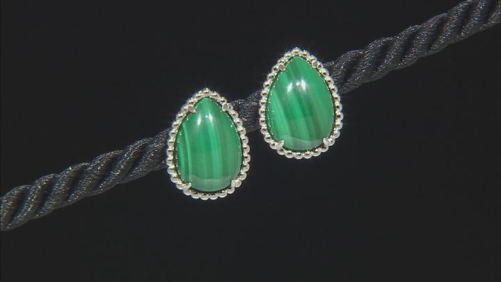 Green malachite sterling silver stud earrings