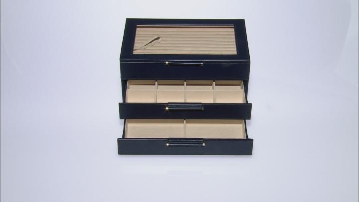 WOLF Medium Jewelry Box with Window and LusterLoc (TM) in Navy