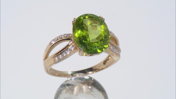 Green Peridot 14k Yellow Gold Ring 4.77ctw