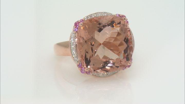Pink morganite 14k rose gold ring 19.79ctw