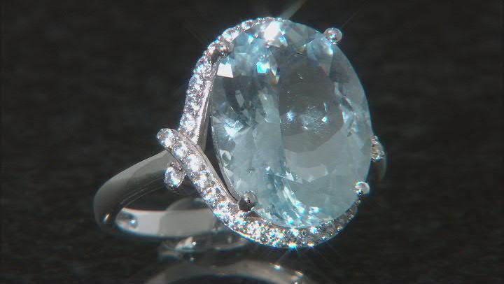Blue Aquamarine Rhodium Over 14k White Gold Ring. 9.87ctw