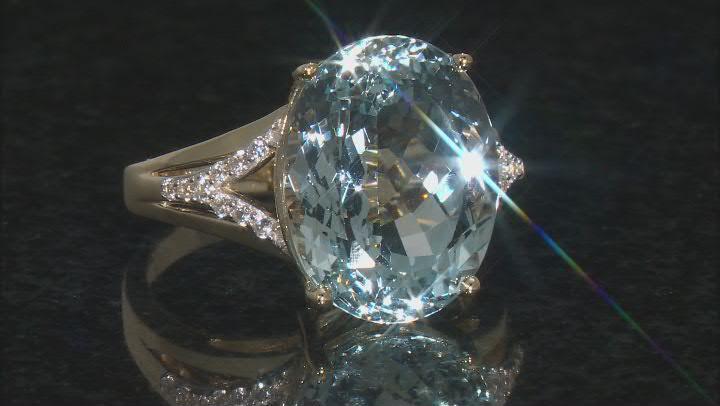 Blue Aquamarine 14k Yellow Gold Ring. 10.04ctw