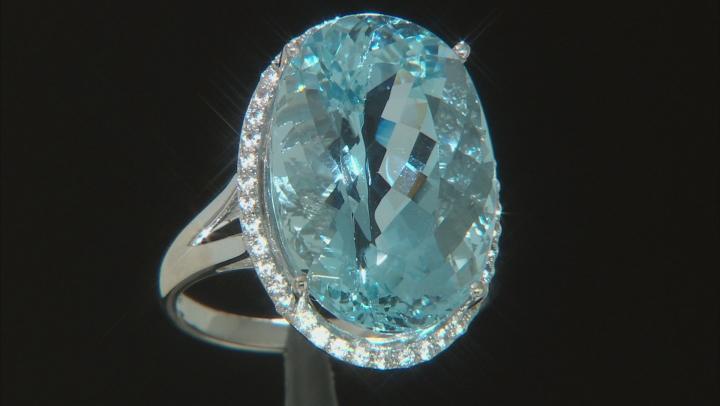 Blue Aquamarine Rhodium Over 14k White Gold Ring 14.46ctw