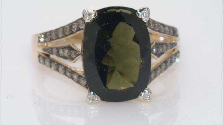 Green Moldavite 14k Yellow Gold Ring 4.24ctw