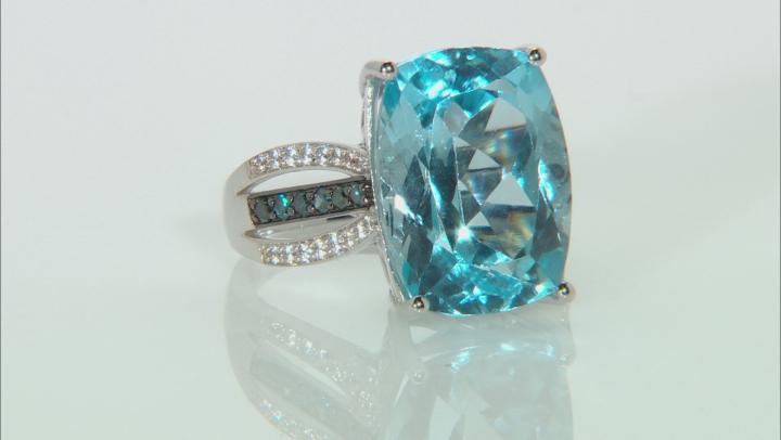 Sky Blue Topaz Rhodium Over 14k White Gold Ring 12.69ctw