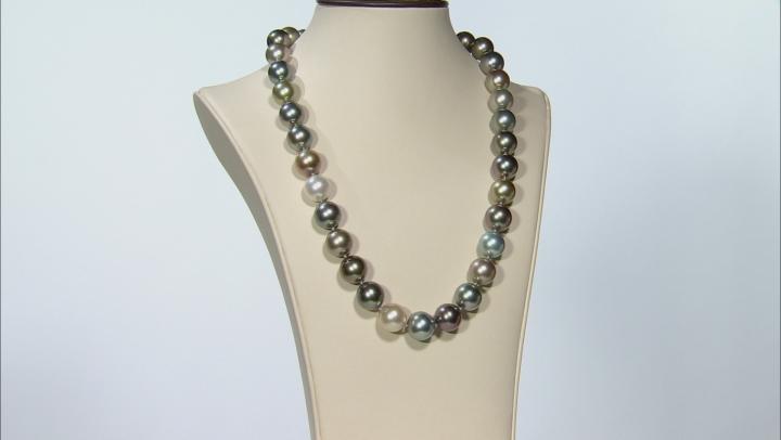 Multi-Color Cultured Tahitian Pearl W/ Diamond 18k Tri-Tone Gold 19.5 Inch Strand Necklace 12-13.9mm