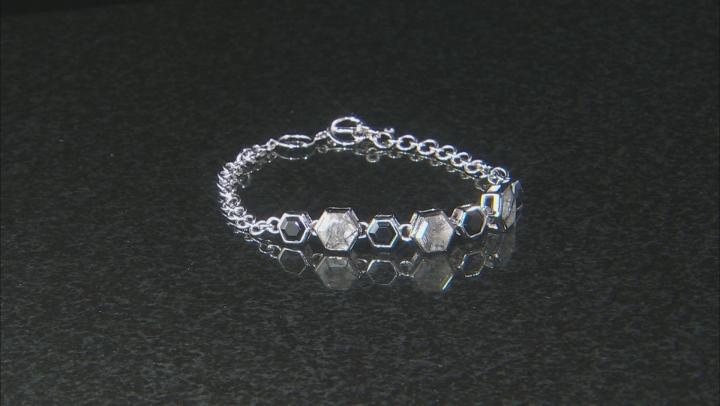 Gray Tourmalinated Quartz Sterling Silver Bracelet 4.60ctw