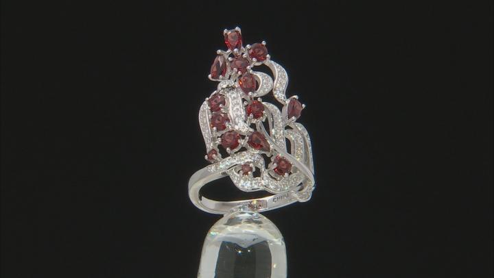 Red Garnet Sterling Silver Ring 3.23ctw