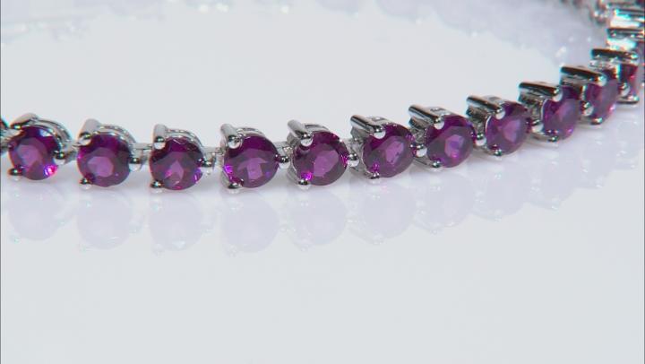 Raspberry Color Rhodolite Silver Bracelet 13.06ctw