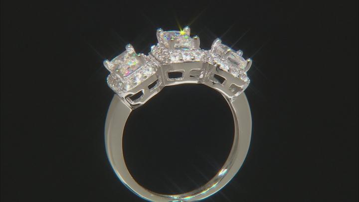 White Fabulite Strontium Titanate And White Zircon Sterling Silver Ring 3.23ctw