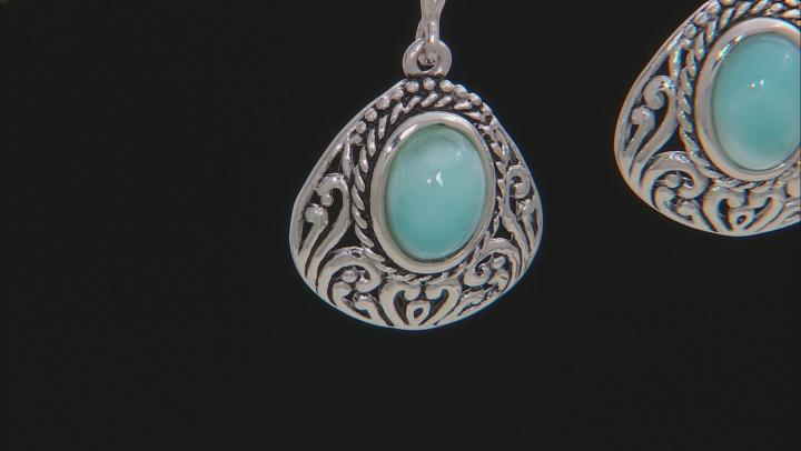 Blue Larimar Silver Earrings