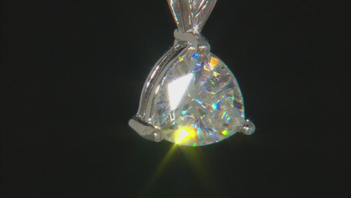 White Fabulite Strontium Titanate rhodium over silver pendant with chain 1.89ct