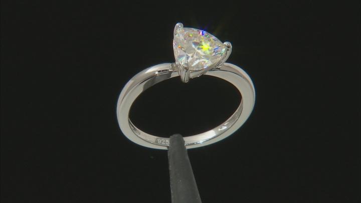 White Fabulite Strontium Titanate rhodium over sterling silver ring 1.89ct