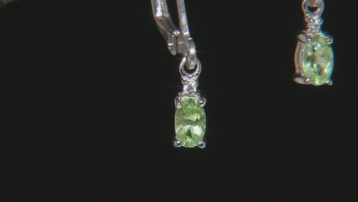 Green Tsavorite Rhodium Over Sterling Silver Earrings .42ctw