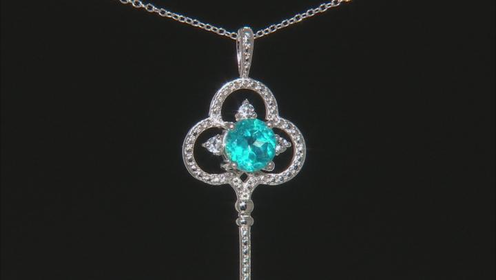 Blue Paraiba Color Topaz Silver Key Pendant With Chain 3.54ctw
