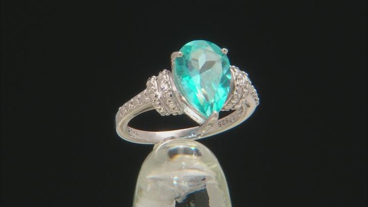 Blue Paraiba™ Topaz Silver Ring 3.24ctw