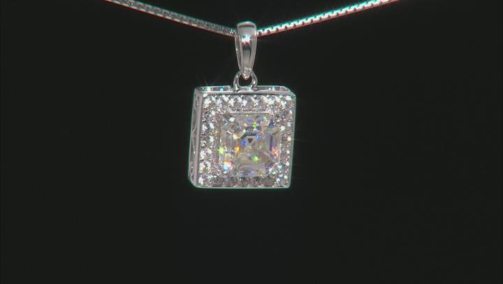 White Fabulite Strontium Titanate sterling silver pendant with chain 1.98ctw
