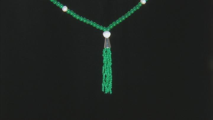 Green Onyx Sterling Silver Tassel Necklace