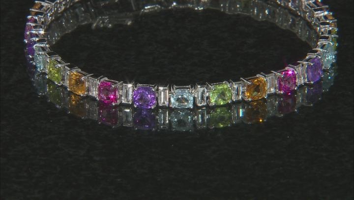 Multi-gem sterling silver bracelet 16.64ctw