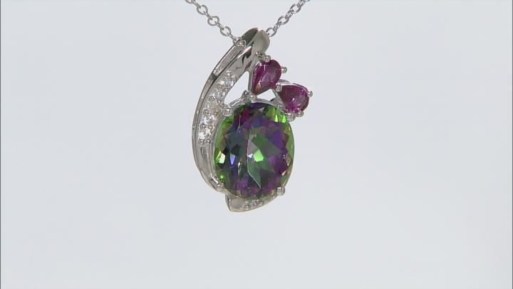 Green MysticTopaz® Rhodium Over Silver Pendant With Chain 6.25ctw