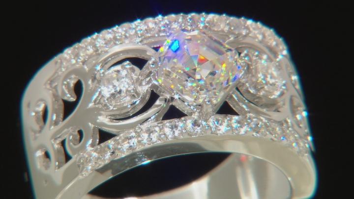 White Fabulite Strontium Titanate And White Zircon Rhodium Over Sterling Silver Ring 2.14ctw