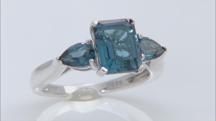 London Blue Topaz Sterling Silver Ring 3.40ctw